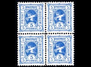 Bochum, 5 Pf. Brieftaube Ausgabe 1887, ungebr. 4er-Block