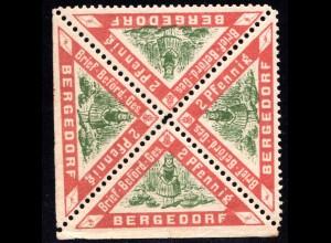 Bergedorf, postfr. 4er-Block 2 Pf., 2-seitig ungezähnt v. Bogenrand!
