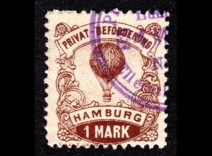Hamburg Hammonia 1888, Verkehrsmittel, gest. 1 Mk. Fessel Ballon