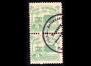 Hamburg Hammonia 1888, Verkehrsmittel, gest. Paar 5 Pf. Dampf Strassenbahn
