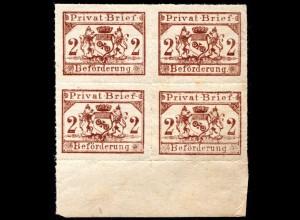 Mainz Privat Brief Beförderung, postfr. 4er-Block 2 Pf. durchst. m. Bogenrand