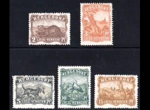 Bergedorf Private Stadtpost 1887, postfr. Tiersatz, 5 Werte kpl.