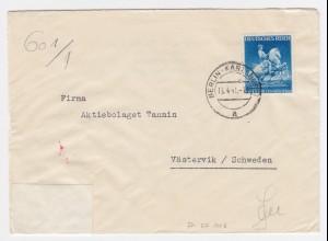DR Schweden 1941, EF 25 Pf. portorichtig auf Zensur Brief v. Karlshorst. #1971