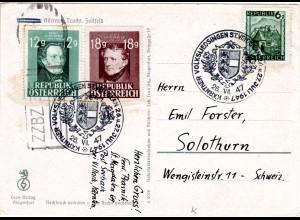 Österreich 1947, Karte m. St. Veit Sonderstpl. u. ZZBZ Zensur i.d. Schweiz