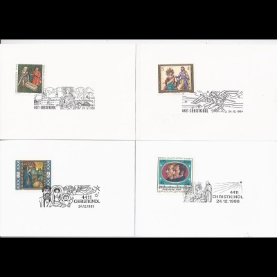Österreich Christkindl, 24.12. 83/84/85/88, 4 Faltkarten m. SoStpl.. #1272