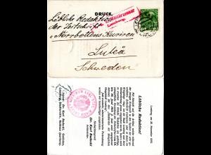 Österreich 1915, 5 H. auf Drucksache v. Lemberg Galizien m. Zensur n. Schweden