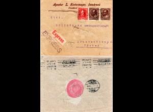 Österreich 1916, Paar 20+15 H. auf Express Brief v. Innsbruck m. Türkei Zensur