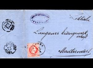 Österreich 1873, K1 FULPMES u. Absender-Cachet auf Brief m. 5 Kr n. Mauterndorf