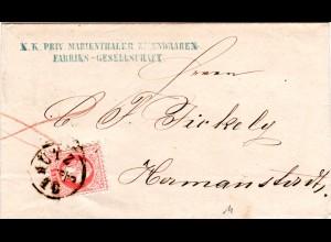 Österreich 1868, 5 Kr auf Firmenbrief Marienthaler Eisenwaren v. K1 OLMÜTZ