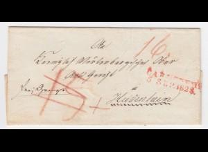 """Baden 1828, L2 Carlsruhe auf Brief """"frei Grenze"""" n. Heidenheim Württemberg #1948"""