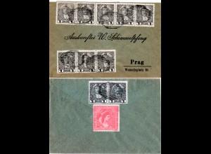 Österreich 1907, MeF 10x1 H. vorder- u. rs. auf Brief m. Stpl. MARSCHENDORF