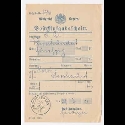 """Bayern 1901, K1 """"Muenchen 1.A.W."""" klar auf Postschein. #1998"""
