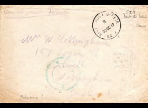 GB/Turkey/Palestine 1917, censored field post cover from APO SZ 9 Deir El Delah