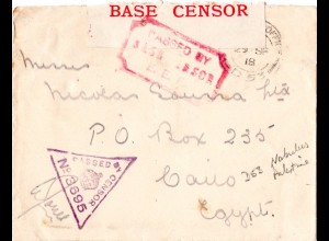 GB/Turkey/Palestine 1918, censored field post cover from FPO D 53 Nabulus