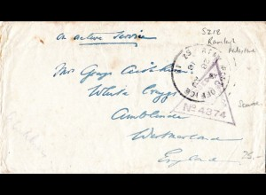 GB/Turkey/Palestine 1918, censored field post cover from APO SZ 15 Ramleh