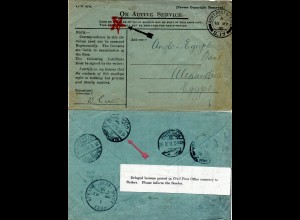 GB 1915, censored field post cover from APO S.17 to Egypt with Delayed label