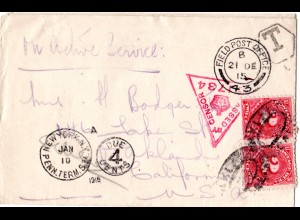 GB 1915, censored field post cover from FPO 43 with US 4 C. postage due