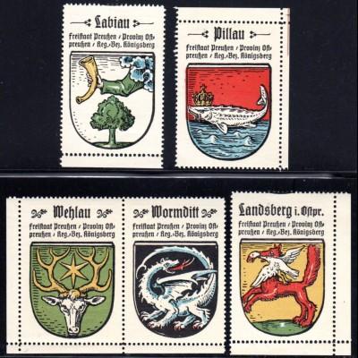 Wappen Labiau, Landsberg, Pillau, Wehlau, Wormditt, 5 Ostpreussen Sammelmarken
