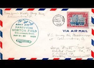 USA 1929, 5 C. Air Mail on Norton Field Army Air Maneuvers cover from Columbus