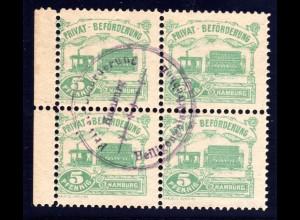 Hamburg Hammonia 1888, Verkehrsmittel, gest. 4er-Block 5 Pf. Dampf Strassenbahn