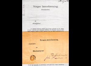 Norwegen 1904, EF 3 öre auf kpl. Norges Laererforening Drucksache v. Tönsberg