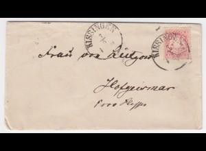 Bayern 1873, K1 Kissingen auf sauberem Brief m. 3 Kr. n. Hofgeismar. #1977