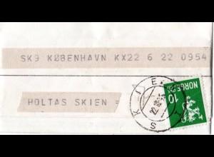Norwegen 1945, 10 öre auf Telegramm v. SKIEN