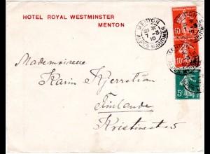 Frankreich 1910, Paar 10+5 C. auf Hotel Brief v. MENTON n. Finnland