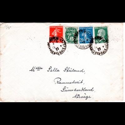 Frankreich 1927, 4 versch. Marken auf Brief v. Strasbourg n. Norwegen