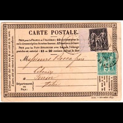 Frankreich 1878, 5+10 C. m. Zwischensteg auf Vorläufer Karte v. Paris n. Italien