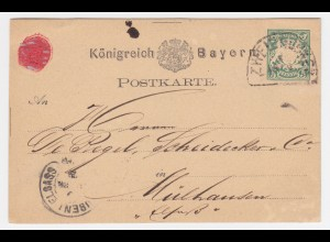 Bayern 1876, HKS Zweibrücken auf Ganzsache n. Mühlhausen, Elsass. #1996