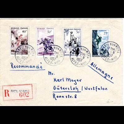 Frankreich 1957, 4 Sportmarken auf Einschreiben Brief v. Breil sur Roya