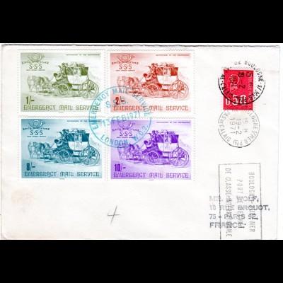 Frankreich 1971, GB Poststreik Kombinations Frankatur auf Brief London-Paris