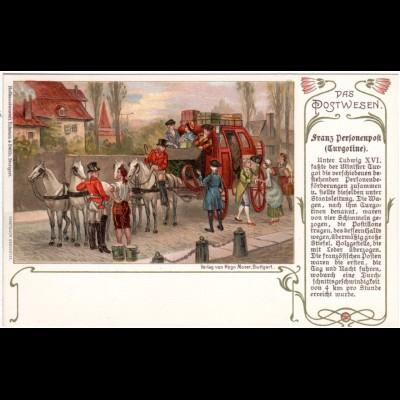 Frankreich, Franz. Personenpost (Turgotine), ungebr. Farb-AK m. Pferdekutsche