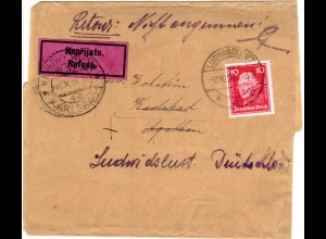 DR 1928, 10 Pf. auf Drucksache Schleife v. Ludwigslust m. CSSR Refusé Etikett
