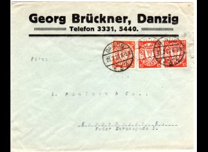 Danzig 1927, 5+Paar 15 Pf. auf Firmenbrief G. Brückner n. Dänemark