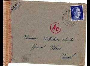 DR 1943, 25 Pf. auf Fremdarbeiter Lager Brief v. Mutschau b. Zeitz n. Frankreich