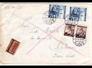 Böhmen u. Mähren 1941, je 2x 10 H.+2,50 K. auf Express Brief Pilsen-Pribram