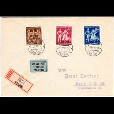 Böhmen u. Mähren 1944, 3 Werte kpl. auf Reko Luftpost Brief v. Tabor n. Berlin