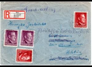 Generalgouvernement 1943, je 2x24+30 G. auf Einschreiben Brief v. Oksa/Jedrzejow