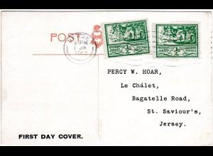 Jersey 1943, 2x 1/2d auf AK m. Ersttags-Maschinenstpl.