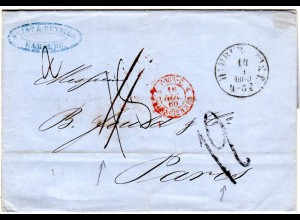 Taxis 1860, Hamburg Th&T Brief n. Frankreich m. Porto Korrektur