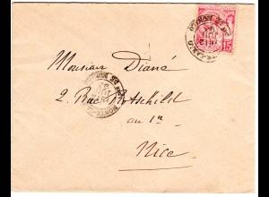 Monaco 1893, 15 C. auf schönem kl. Brief m. K2 MONTE-CARLO n. Nizza