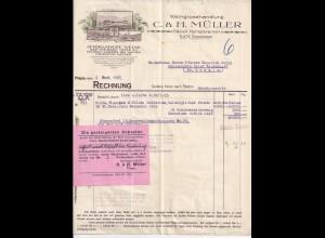 Flape b. Kirchhundem 1923, illustrierte Firmenrechnung Weinhandel Müller. #1222