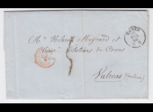 Italien Sardinien Frankreich 1860, K1 Cuneo auf Brief m. selt. Grenzstpl. #1478