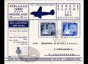 NL Indien1937, 5+15 C. auf DC-3 Erstflug Brief v. Soerabaja