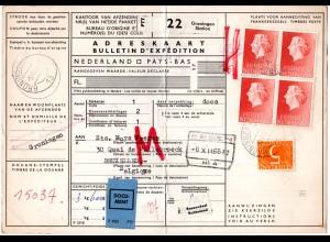 NL 1966, 4er-Block 1 G.+5 C. auf Paketkarte v. Groningen Station n. Belgien
