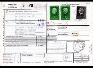 NL 1970, 5+Paar1 G. auf Paketkarte v. Utrecht Herderplein n. Belgien
