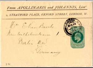 GB, gebr. 1/2d Streifband m. Firmenzudruck Apollinaris and Johannis Ltd. London
