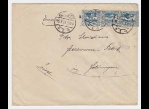 Oberschlesien 1921, Gleiwitz, Firmen Brief m. MeF 3mal 20 Pf. #289